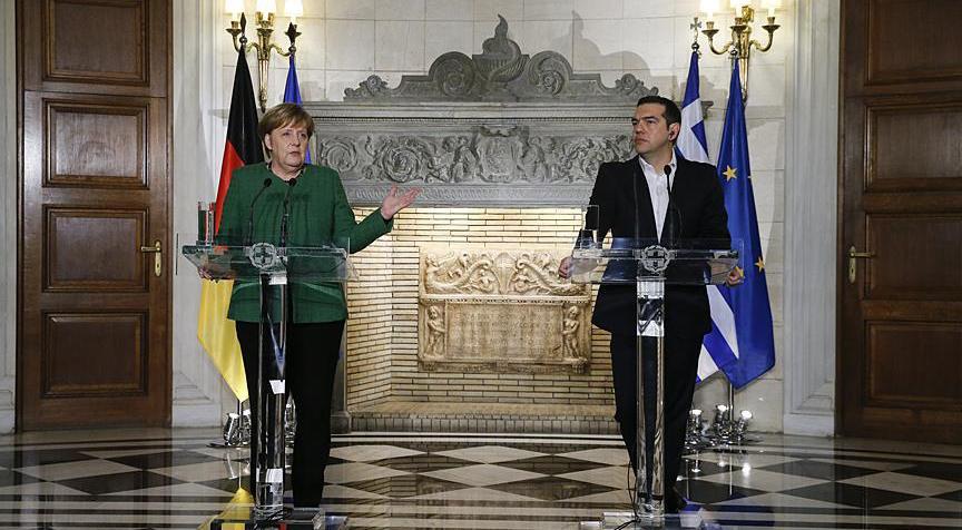 Atina'da görüşen Çipras ve Merkel'den basın toplantısı