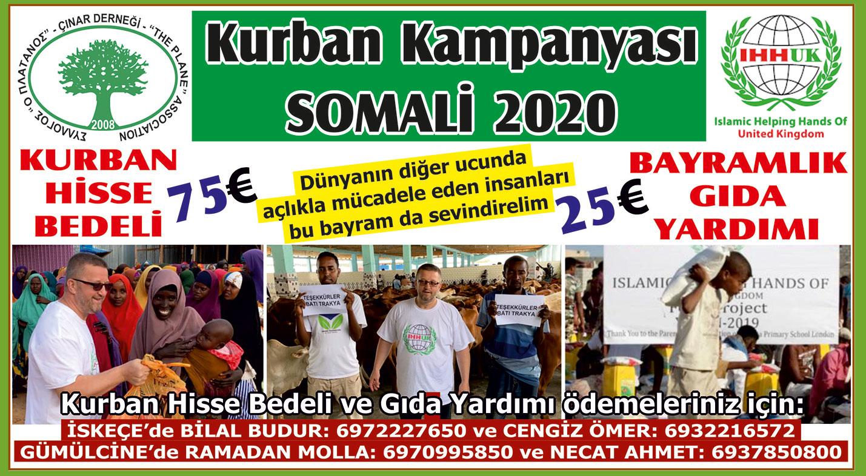 Çınar Derneği'nin SOMALİ için başlattığı Kurban kampanyası devam ediyor