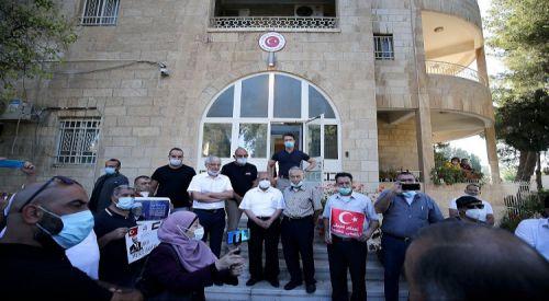 Filistinliler, Ayasofya kararına destek için Kudüs'teki Türk Konsolosluğunu ziyaret etti