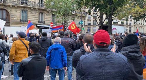 Terör örgütü PKK yandaşları ve Ermeniler birlikte gösteri düzenledi