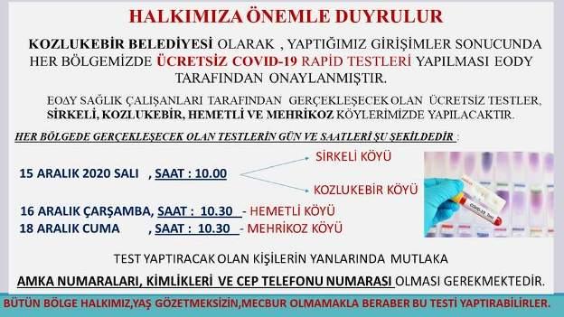 Kozlukebir Belediyesi'nde ücretsiz 'Covid-19 rapid test'