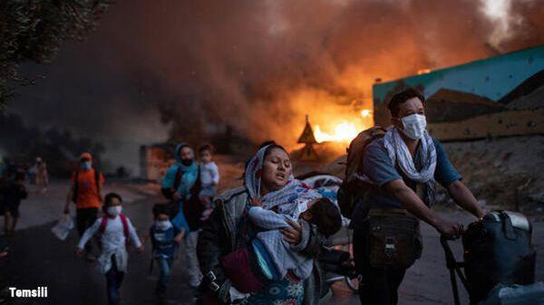 Midilli sığınmacı kampı: Hamile kadın kendini yaktı