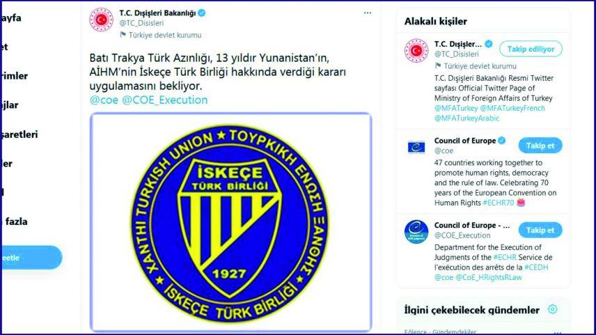 Türkiye Dışişleri Bakanlığı'ndan, İskeçe Türk Birliği paylaşımı