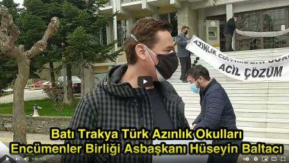 Encümenler Birliği Asbaşkanı Hüseyin Baltacı İskeçe'deki protestoda hazırlanan bildiriyi okudu