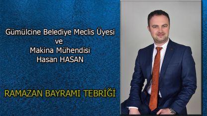 Makina Mühendisi Hasan Hasan'dan bayram tebriği