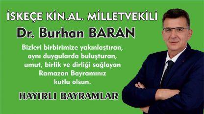 İskeçe Milletvekili Burhan Baran Ramazan Bayramı mesajı yayınladı