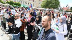 Bosna Hersek'in Tuzla şehrinde Filistin'e destek gösterisi düzenlendi