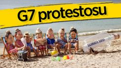 G7 Zirvesi'nde iklim değişikliği protestosu