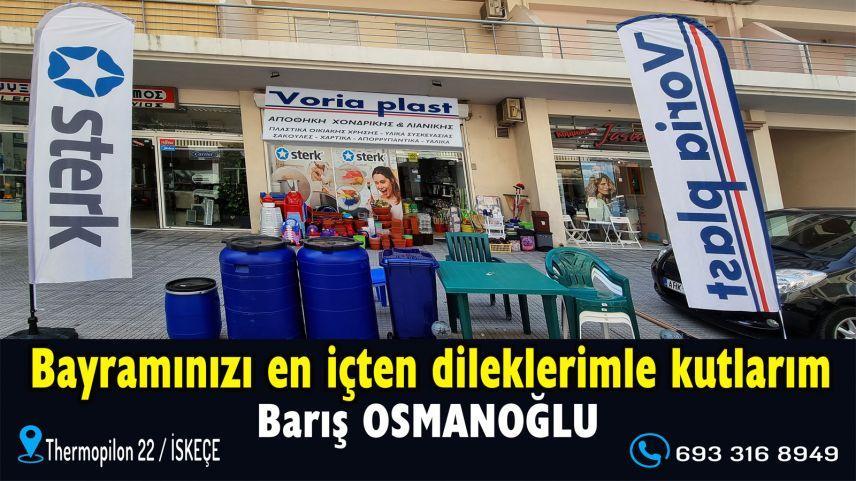 'Voria plast' mağazası sahibi Barış Osmanoğlu'ndan bayram kutlaması