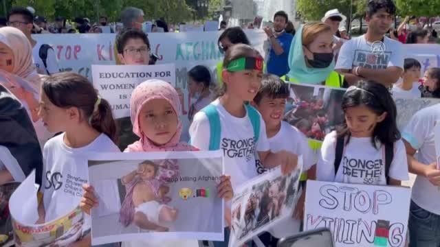 Atina'da yaşayan Afganlardan Taliban karşıtı gösteri