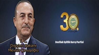 Dışişleri Bakanı Mevlüt Çavuşoğlu DEB Partisini kutladı