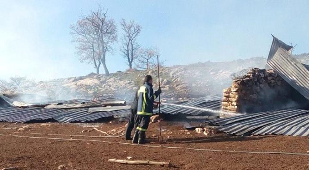 Çalabı köyünde bir ağıl yandı
