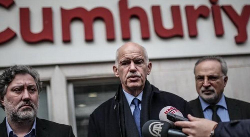 Papandreu Türkiye'de Cumhuriyet Gazetesini Ziyaret Etti