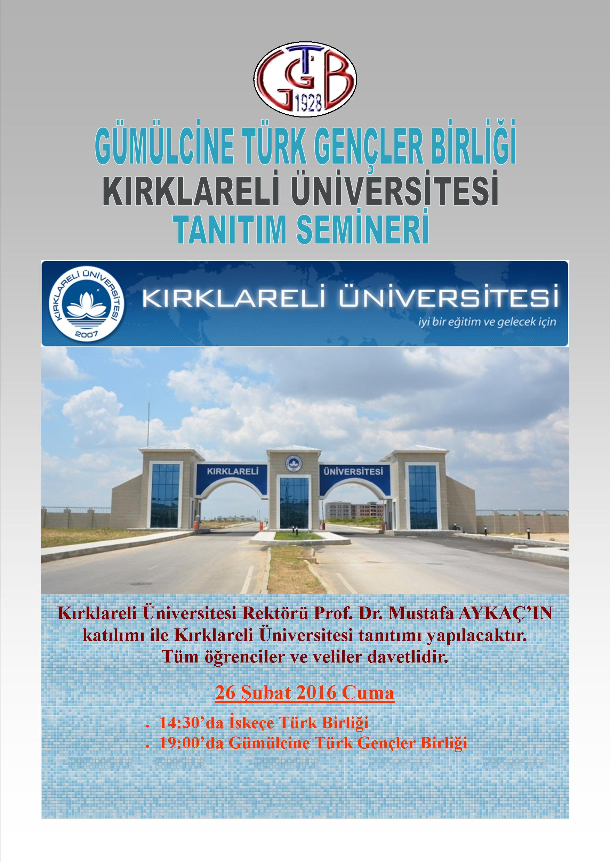Kırklareli Üniversitesi Batı Trakya'da tanıtılacak