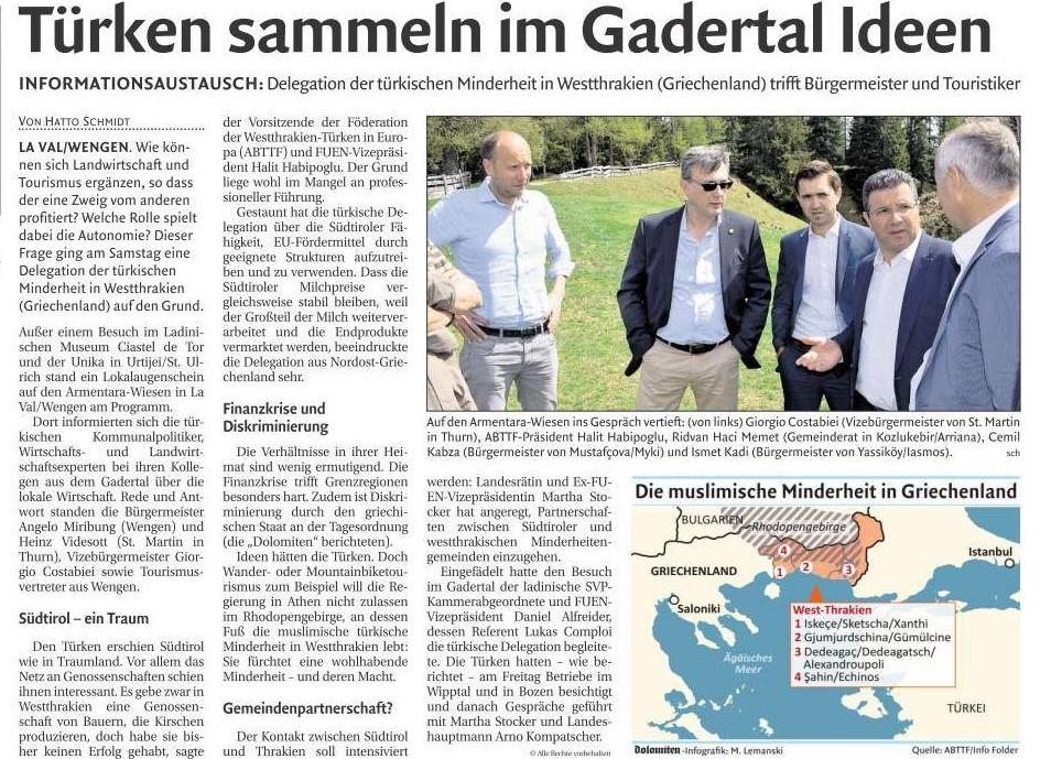 Batı Trakya Türk Azınlığı Heyetinin Özerk Güney Tirol'e Keşif Ziyareti