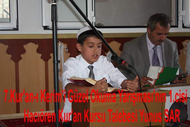Kur'an-ı Kerim'i Güzel Okuma Yarışması Birincisi Hacıören köyünden Yunus Sar Oldu