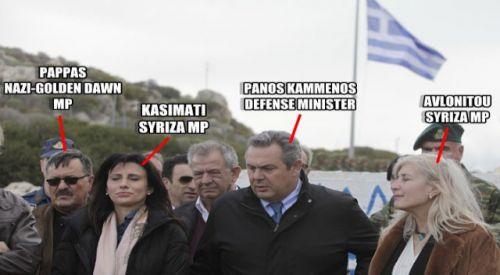 Syriza bunu da yaptı: Faşist Altın Şafak'la birlikte 'milli şov'