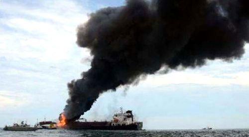 Rodos adası yakınlarında tankerde yangın çıktı